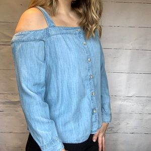 Peekaboo Shoulder Denim Top